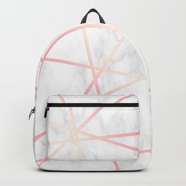 Modern white marble and pink rose gold geometric pattern Backpack