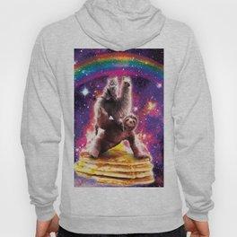 Space Cat Llama Sloth Riding Pancakes Hoody