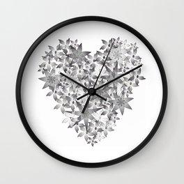 Blooming Heart black & white Wall Clock