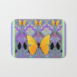 Pastel Lilac yellow butterflies Art Nouveau Design Bath Mat