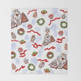 hand drawn pattern of winter decoration Throw Blanket