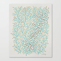 mint Canvas Prints featuring Berry Branches – Turquoise & Gold by Cat Coquillette