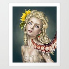 Luna and the Squid Art Print