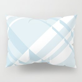 3D Plaid in Light Blue Mists and White Pillow Sham