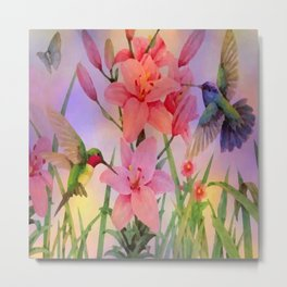 Painterly Hummingbirds And Flowers Metal Print