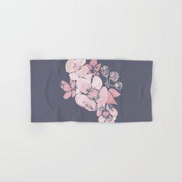 Watercolor floral art pink & grey on ash blue Hand & Bath Towel