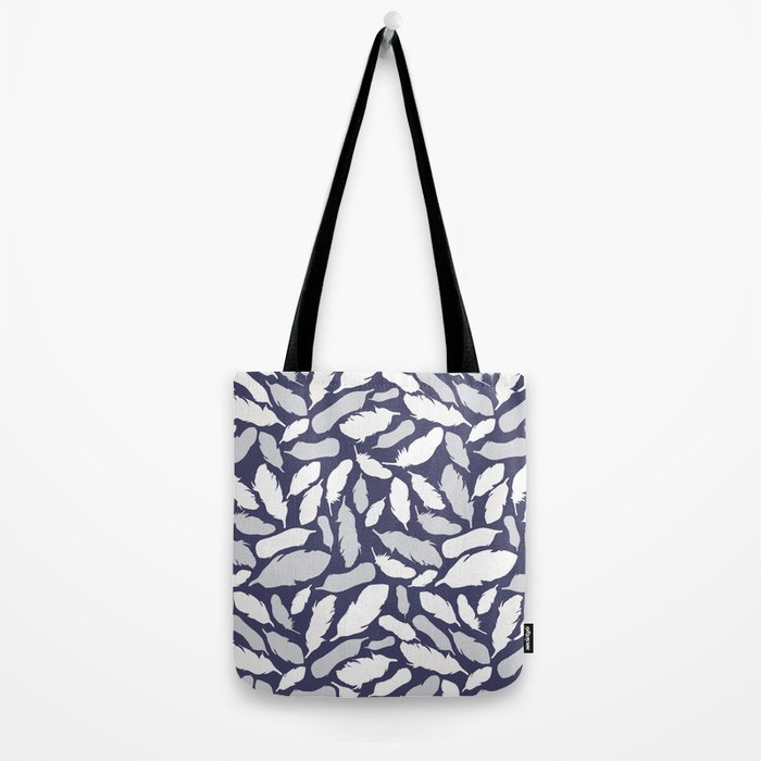 Feather Pattern Blue Tote Bag