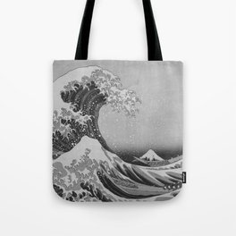 Black & White Japanese Great Wave off Kanagawa by Hokusai Tote Bag