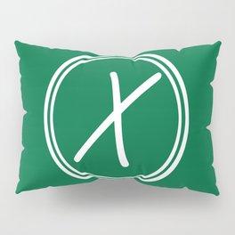 Monogram - Letter X on Cadmium Green Background Pillow Sham
