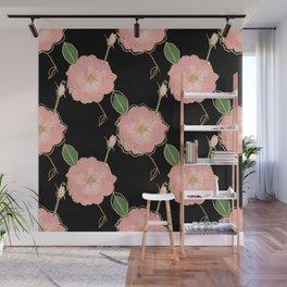 Elegant Pink & Gold Watercolor Roses Black Design Wall Mural