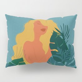 Naturist // Woman, Plants, Forest, Leaf, Leaves, Nature, Natural Pillow Sham