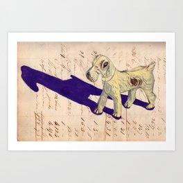 Vintage Celluloid Fox Terrier in Gouache Art Print