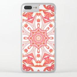 Romantic Peach Mandala Design Clear iPhone Case