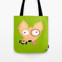 rocky Tote Bags featuring Rocky by Designs By Misty Blue (Misty Lemons)