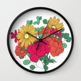 Bright Color Flower Bouquet Wall Clock