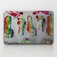 duvet cover iPad Cases featuring FOOTSTEPS DUVET COVER DESIGN by aztosaha