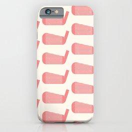 Golf Club Head Vintage Pattern (Beige/Pink) iPhone Case