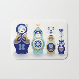 Russian Nesting Dolls – Blue & Gold Bath Mat