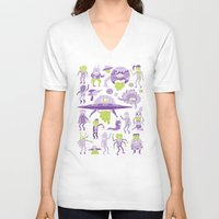 aliens V-neck T-shirts featuring Wow! Aliens!  by Josh Ln