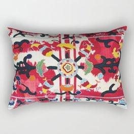 Ikat Suzani  Antique Uzbekistan Tribal Wedding Bedsheet Print Rectangular Pillow