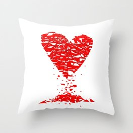 Shattered Lovers Heart Throw Pillow