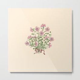 Delicate Carnations Bouquet Metal Print