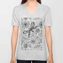 Dragonfly and flowers doodle Unisex V-Neck
