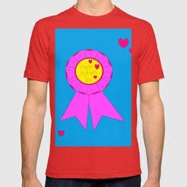 A Happy Mother's Day with Pink Hearts and Blue background T-shirt