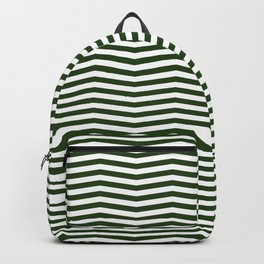 Dark Forest Green and White Chevron Zigzag Stripes Backpack