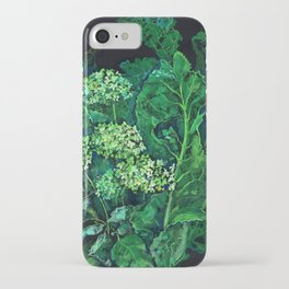 Hydrangea and Horseradish, black and green iPhone Case