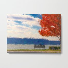 Red Tree and Bench Metal Print