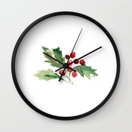 Holly Branch Merry Christmas  Wall Clock