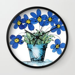 Seven Flowers (Blue): cheery original art in a loose style, simple flowers in a turquoise pot Wall Clock