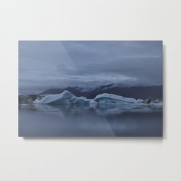 Icebergs at glaciar lagoon in Iceland Metal Print