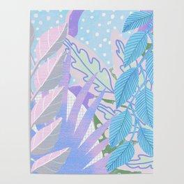 Modern Jungle Plants - Blue, Purple Poster