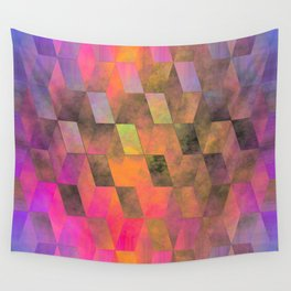 Stacked Sky (magenta-coral-ochre) Wall Tapestry