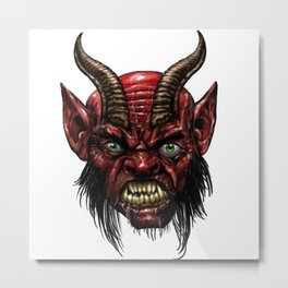 Krampus Devil face Metal Print
