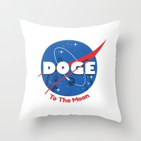 doge Throw Pillows featuring Nasa Doge by Tabner's