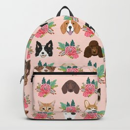 Dogs and cat breeds pet pattern cute faces corgi boston terrier husky airedale Backpack