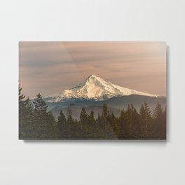 Mount Hood Vintage Sunset - Nature Landscape Photography Metal Print