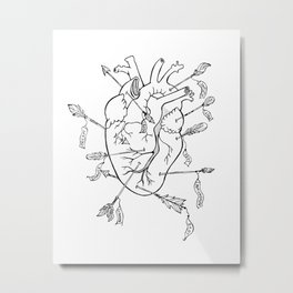 Arrows to the heart in B&W Metal Print