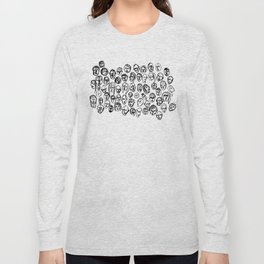 Black and White Line Drawing Faces Long Sleeve T-shirt