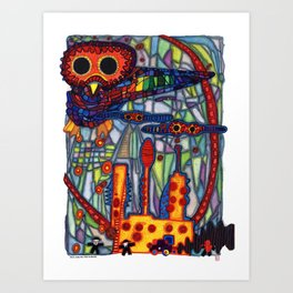 Owls Over The Stock Exchange Art Print
