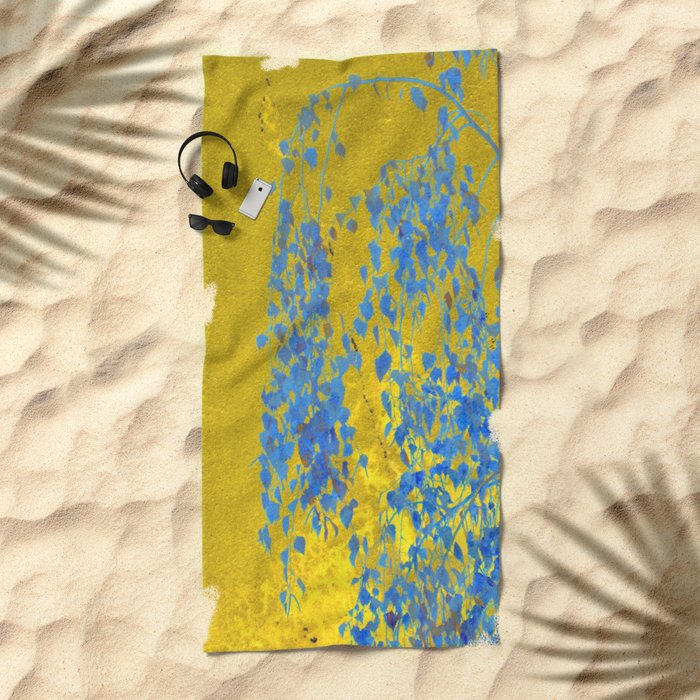 Blue Branch on Gold Beach Towel