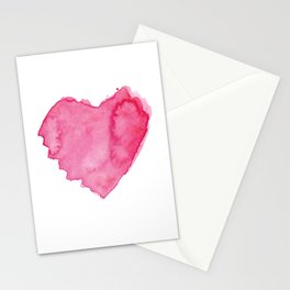 Watercolor Heart. Red pink home decor. Simple design. Stationery Cards