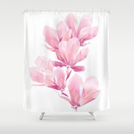 Crystal Pink orchid, polygon flowers, beautiful floral background Shower Curtain