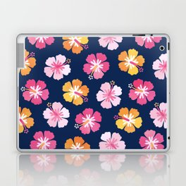 CANDY COLORED HIBISCUS on NAVY Laptop & iPad Skin
