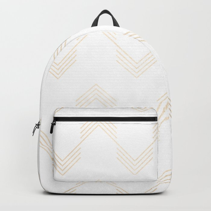 Simply Deconstructed Chevron White Gold Sands on White Backpack