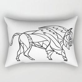 Bison Side Mosaic Black and White Rectangular Pillow