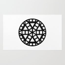 Single Black and White Pinwheel, Minimal Mandala, Medallion Rug